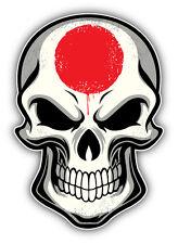 Japan Flag Skull Car Bumper Sticker Decal 3'' x 5''
