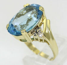 Diamond blue topaz ring 14K yellow gold large oval round brilliant 13.87C sz 6.5