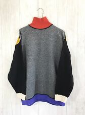 VTG Esprit womens Sweater sz S Color block Lambswool Gray Mustard Turtle neck