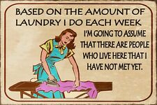 Laundry Day Funny Humorous Vintage Retro Style Metal Sign, mother, mum, ironing