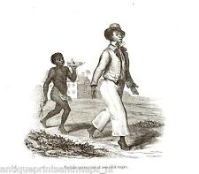 Antique print Suriname 1840 gravure Slavernij slavery negro slave holder boy