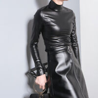 Women's Pu Leather Slim Fit Long Sleeve Black Dress Stand Collar Fashion Coat