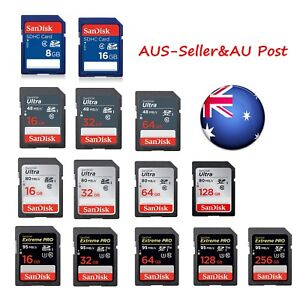 SanDisk 8GB 16GB 32GB 64GB 128GB SD Memory Card SDXC DSLR 4K Full HD SDHC Ultra