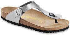 Birkenstock Gizeh Silver Birko-flor Womens Leather Sandals 4 UK 37 EU 6 US