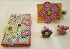 Waverly Flower Patch Bedroom Decor - Night Light, 2 Drawer Pulls, & Switch Cover