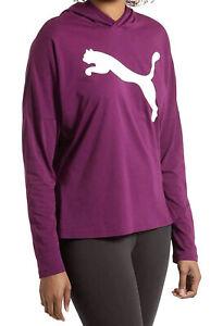PUMA Urban Womens Large Purple Long Sleeves Hooded Tee Top Light Pullover Hoodie
