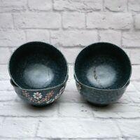 Japanese Style Soup Bowls Porcelain Floral Rice Dinnerware Bowls Set of 4