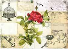 Papel De Arroz-Rojo Rosa en Tarjetas-Para Decoupage Decopatch Scrapbook Craft