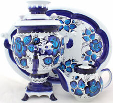 Russian Electric Samovar Tray Teapot Set Gzhel | Handmade Painting | Tea Kettle
