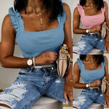 Womens Ruffle Sleeveless Vest T Shirt Ladies Summer Slim Cami Tank Tops Blouse
