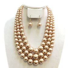 Classic 3 Multi Strand Necklace and Earrings Set Champagne Chunky Layered Pearl