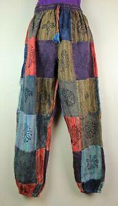 S-5XL Patchwork Casual Cotton Trousers Hippie Yoga Pants Festival Combat HT13