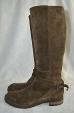 Sz 38 7.5 Alberto Fermani Brown Suede Zip Up Riding Boots