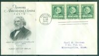 US FDC 864 LONGFELLOW CANCL.feb-16-1940 PORTLAND MAINE ADDR.