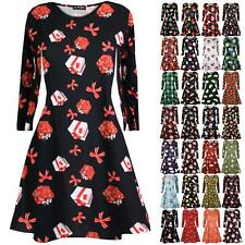 Womens Ladies Xmas Reindeer Gifts Tie Penguin Smock Christmas Swing Mini Dress
