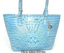 Brahmin Medium Asher Cerulean Blue Embossed Leather Tote Handbag NWT $285