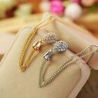 Gold/Silver Women Teardrop Rhinestone Plated Long Chain Crystal Pendant Necklace
