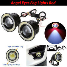 "2.5"" inch LED Fog Light Projector Driving Lamp COB Angel Eye Halo Ring Kit Red"