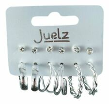 Card of 6 Pairs of Silver Crystal Stud and Hoop Earrings Ear Rings