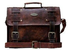 Mens Vintage Leather Messenger Bag 15 Inch Laptop Satchel Office Shoulder Bag