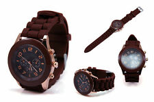 Ladies Fashion Rose Gold Geneva Brown Faced Brown Silicone Band Wrist Watch.