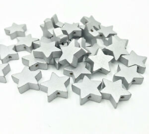 50pcs Wooden star shape Loose Beads Silver beads Necklace Make Accessories