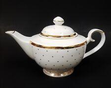 NEW GRACE'S TEAWARE WHITE+GOLD METALLIC TRIM POLKA DOT TEA,COFFEE POT,TEAPOT