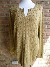 RALPH LAUREN GOLD 3X METALIC SPLIT ROUND NECK CABLE KNIT SWEATER
