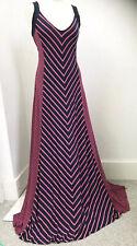 Monsoon Navy Pink Chevron Maxi Dress Jersey 14