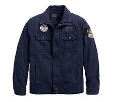 Harley-Davidson Men's Washed Canvas Slim Fit Jacke Gr. XXL - Blau, Herren