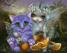 Jasmine Becket-Griffith art BIG print SIGNED Orange Blossoms florida fairy cat