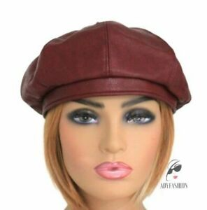 Faux Leather Beret Ladies Women's Fashion Hat BURGUNDY 8 Panel Quality One Size