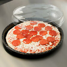25 Pack 13 Oven Safe Takeout Cookie Tray Pizza Round Circle Tray And Lid Black
