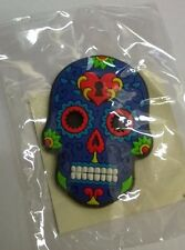 Candy Skull Day of the Dead Mexican Fridge Magnet Blue / purple