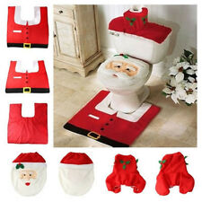 Happy Santa Toilet Seat Cover Rug Bathroom Set Decoration Christmas Decoration