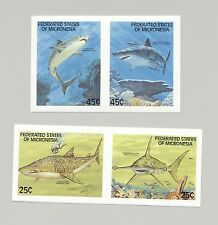 Micronesia #77-80 Sharks, Fish, Scuba Diver 4v imperf in 2v setenant proof pairs