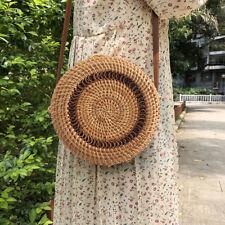 Women Lady Rattan Beach Shoulder Bag Summer Holiday Tote Shopping Handbag Purse
