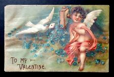62. Antique Embossed To My Valentine Post Card Made in Germany Sent Feb. 1909
