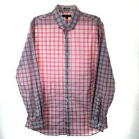 Banana Republic Slim Fit Mens Large Red/White Check Long Sleeve Button Shirt