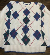 VTG Men's BROOKS BROTHERS L White Navy Blue Red Green Argyle Sweater Cotton Crew