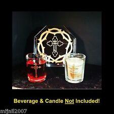 3 pc Catholic Cross Mirror & Votive or Shotglass Gold Centerpiece Display