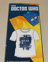 Doctor Who BBC Mens Tardis White Printed Short Sleeve T Shirt Size L New