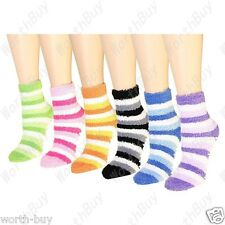 12 Pairs Womens Soft Cozy Fuzzy Winter Warm Striped Slipper Crew Socks Size 9-11