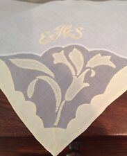 "Vtg Hankie Hankercheif Linen Cutwork Shadow Paned Pale Yellow & White 17"" Sq"