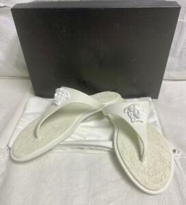 VERSACE White Flat Rubber Medusa Palazzo Thong Flip Flop Sandals Retails $350.00