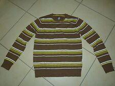 H&M Herren Pullover Braun mit hellgrünen weißen Streifen Gr. M
