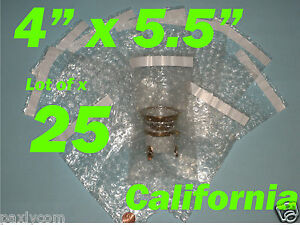 """25) 4X5.5 Bubble Out Pouches Bags Wrap Self Seal Self Sealing 4""""x5.5"""" Protective"""