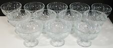 """12 Pasabahce Pressed Fruit Clear Glass 12 Oz Sherbet Dessert Footed Bowl 3 5/8"""""""