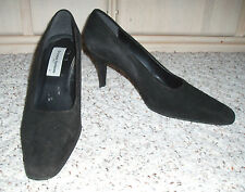 GRUPPO ITALIANO Genuine Suede Leather High Heel Dress Shoes~Black~8.5 B~Italy