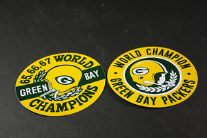 """GREEN BAY PACKERS Vintage CHAMPIONSHIP 1960s style Decals Stickers 5"""" Diameter"""
